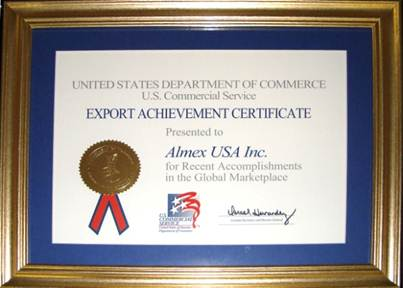 United State Department of Commerce awards Export Achievement Certificate to Almex USA Inc.